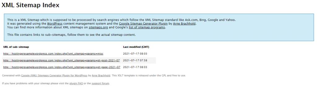 The XML Sitemap Index,