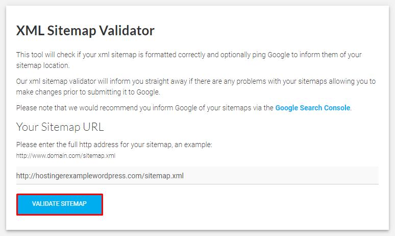 Clicking Validate Sitemap in the XML Sitemap Validator.