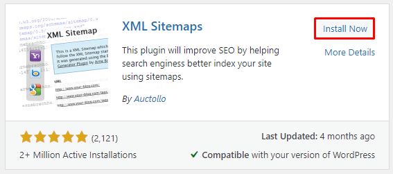 Clicking on the Install Now button to get the XML Sitemaps plugin,