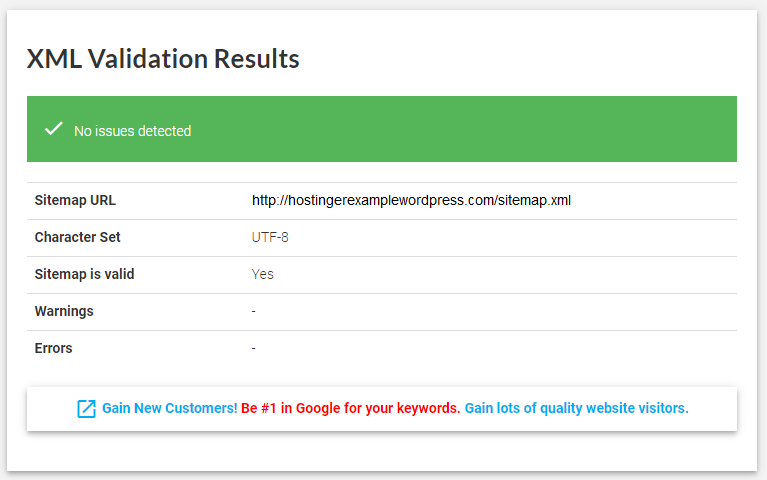 The XML validation results window informing that no issues were detected.
