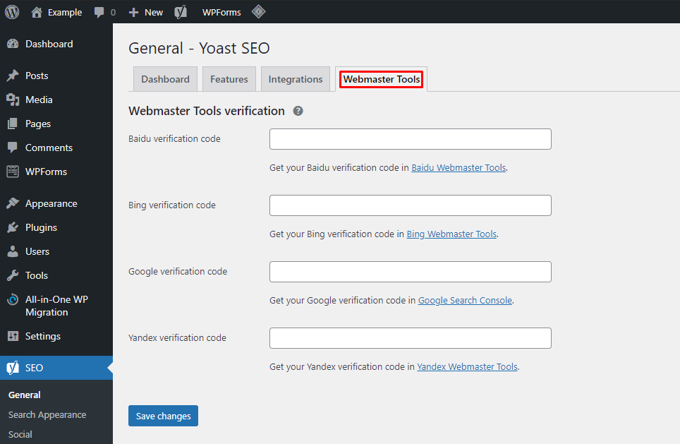 Clicking on the Webmaster Tools tab in the general settings of the Yoast SEO plugin,