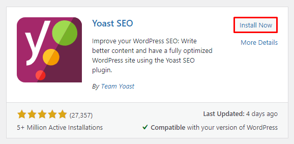 Clicking on the Install Now button to get the Yoast SEO plugin.