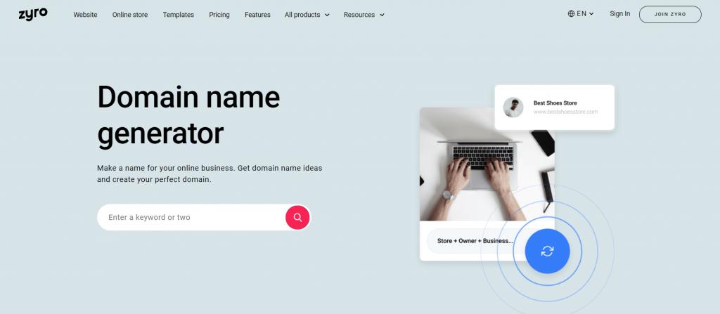 Zyro domain name generator homepage.