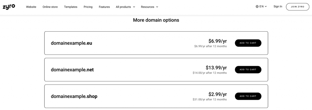 Zyro domain generator tool showing more domain options and their prices.