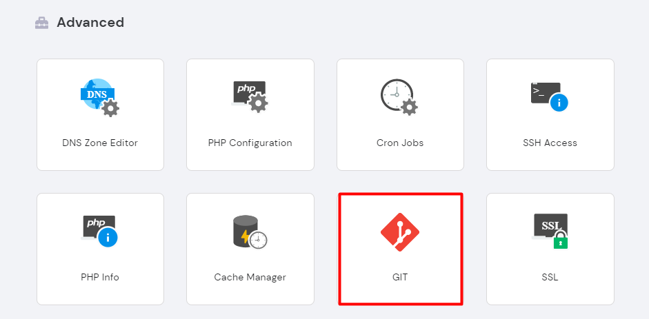 Clicking on the GIT icon in the advanced section of hPanel