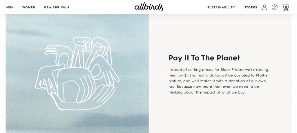 Allbirds' Black Friday campaign.