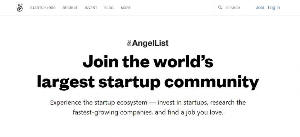 AngelList's homepage.