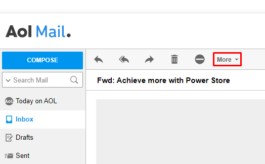 Aol Mail, highlighting More.