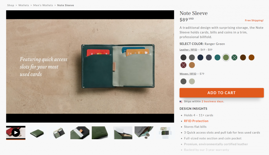 A product page on Bellroy.com.