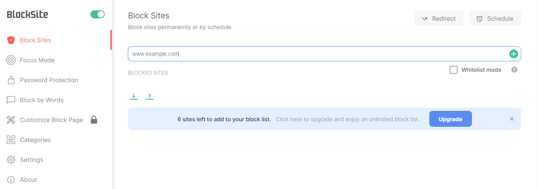 BlockSite settings panel.