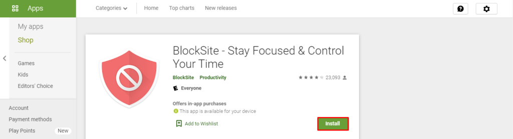 BlockSite on Google Play Store.