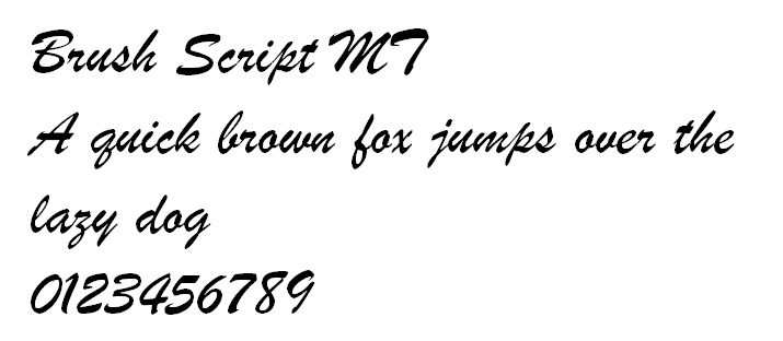 The letters and numbers of Brush Script.