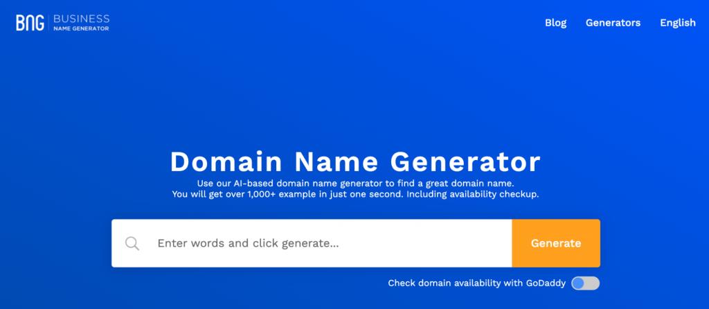Business Name Generator homepage.