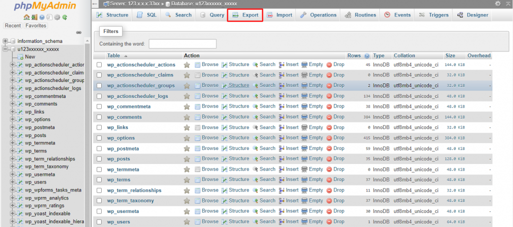 Exporting database in phpMyAdmin dashboard in GoDaddy's cPanel