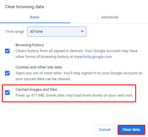 Screenshot showing where to find the cached images and files option,