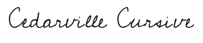 An example of the Cedarville Cursive typeface.
