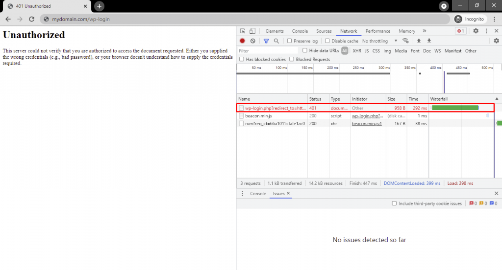 Network tab of Chrome's Inspect tool. It highlights a page's 401 error status