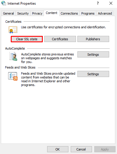 Screenshot from the Internet Properties showing where to find the clear SSL state option,