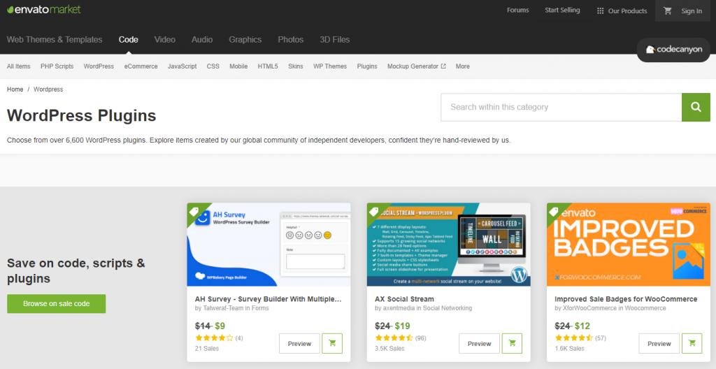 The WordPress plugin selection at CodeCanyon.