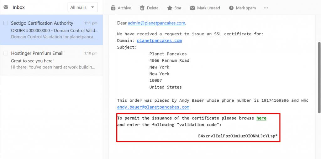 Screenshot of the verification email for Comodo PositiveSSL certificate,