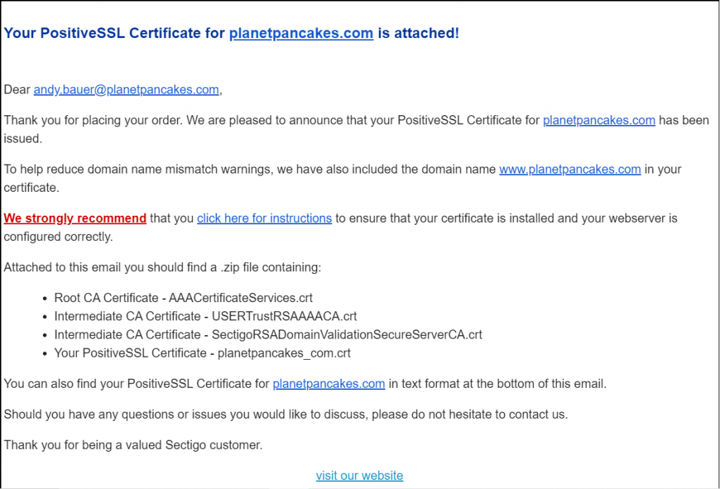 Screenshot of the successful attachment email from Comodo,