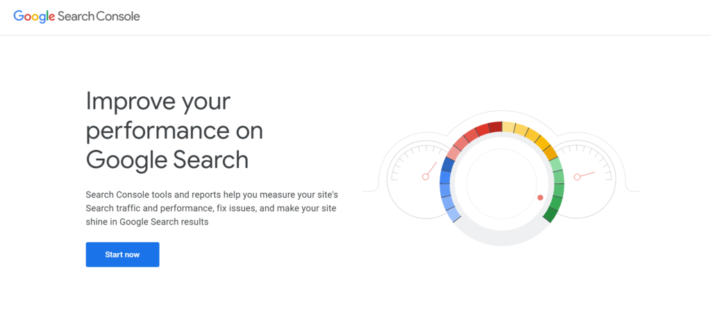 Google Search Console homepage.