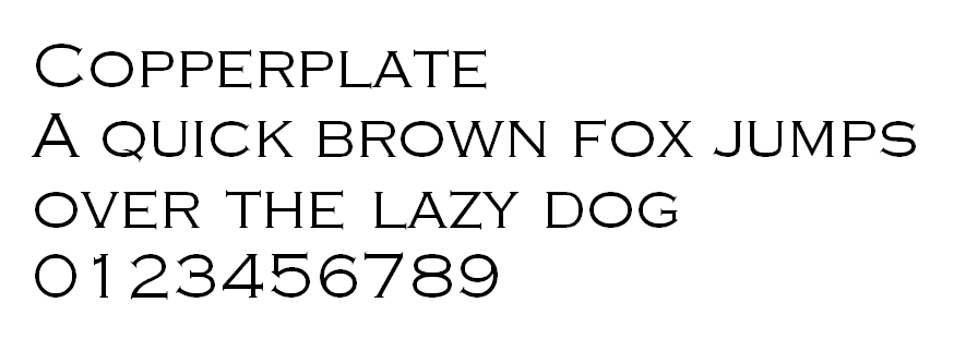 The letters and numbers of Copperplate.