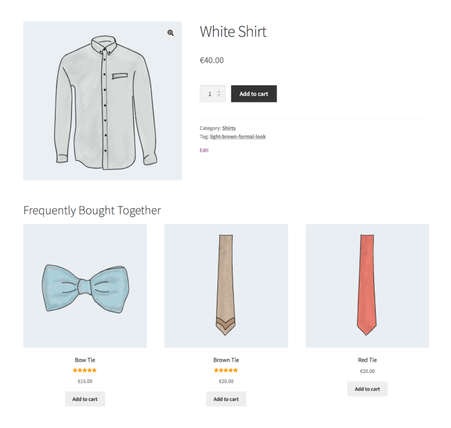 An example of cross-selling on an online store.