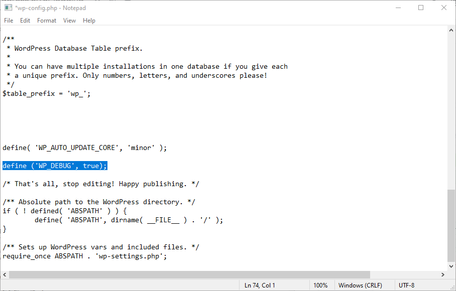 Line of code in the wp-config.php file