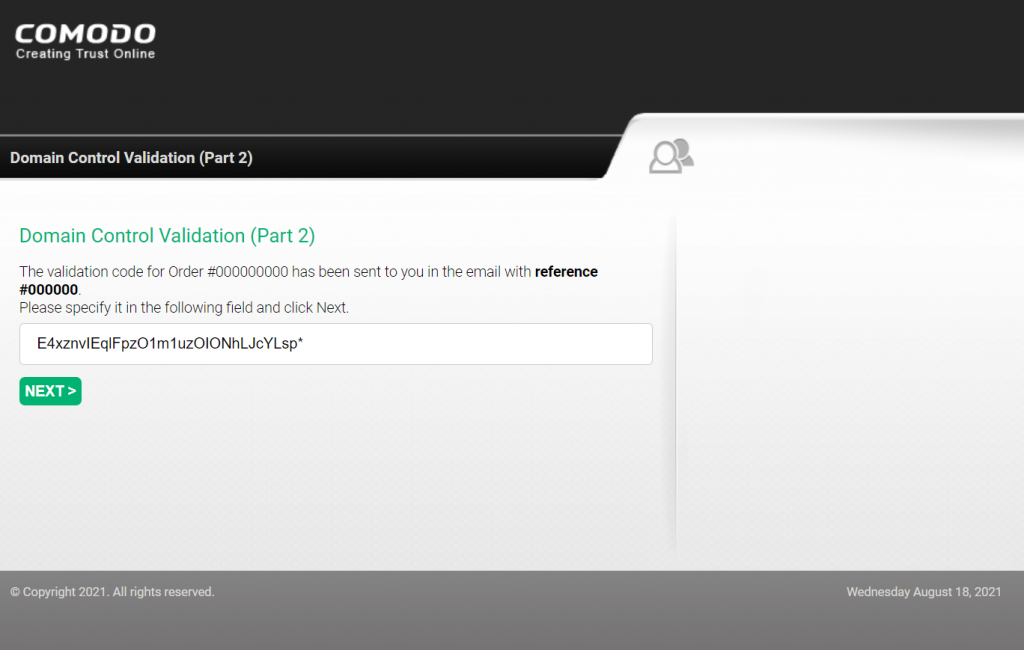 Screenshot of the domain control validation page,