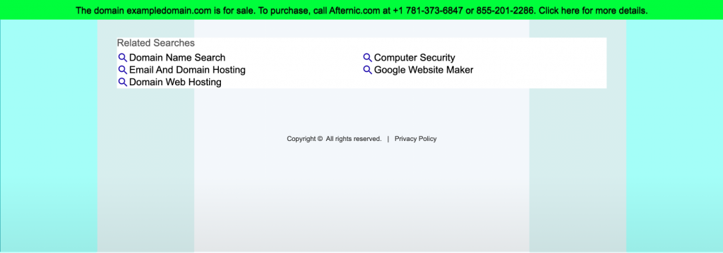 Information that exampledomain.com is for sale and the contact details to purchase it.