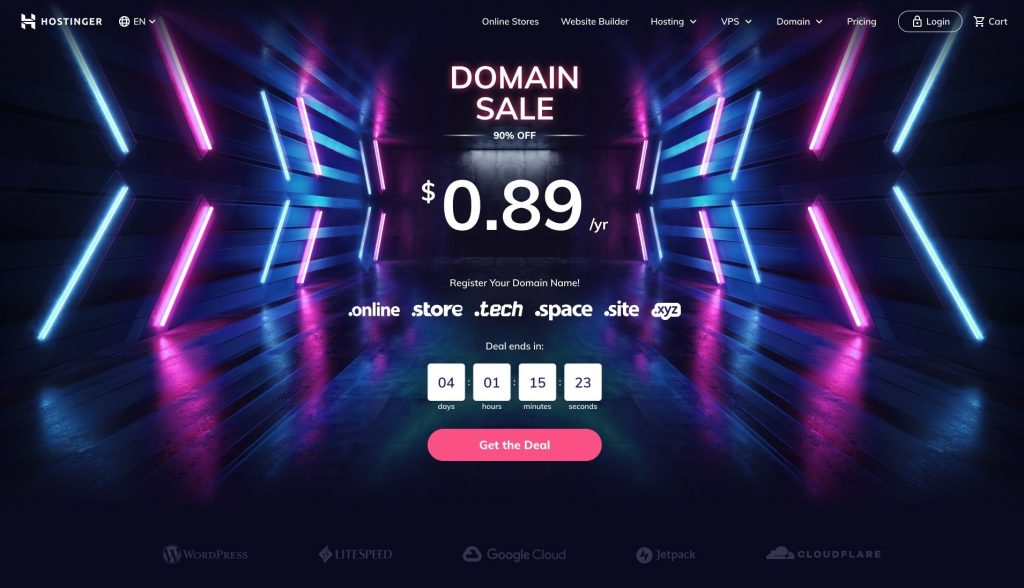 Hostinger's domain sale promotion launched around Black Friday.