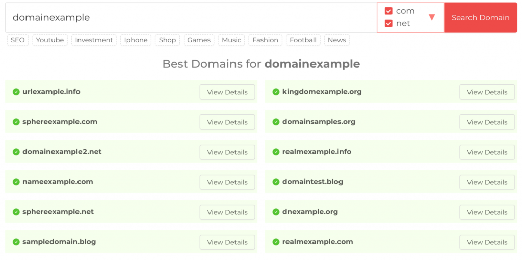 Typing domain example in the Domain Wheel's search bar and getting many options to choose from.