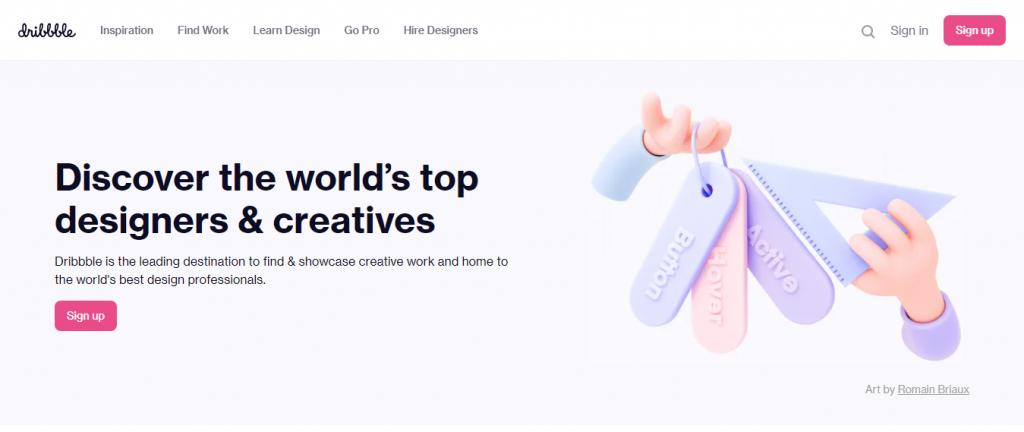 Dribbble's homepage.