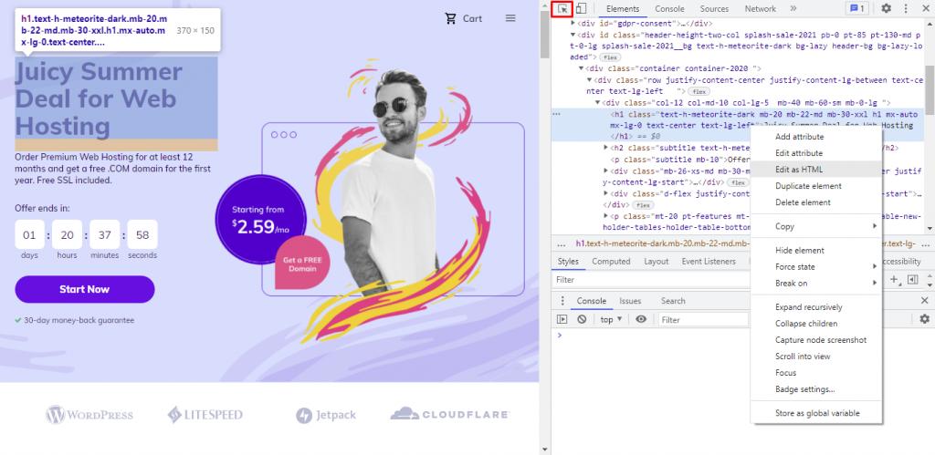 Selecting Edit as HTML.