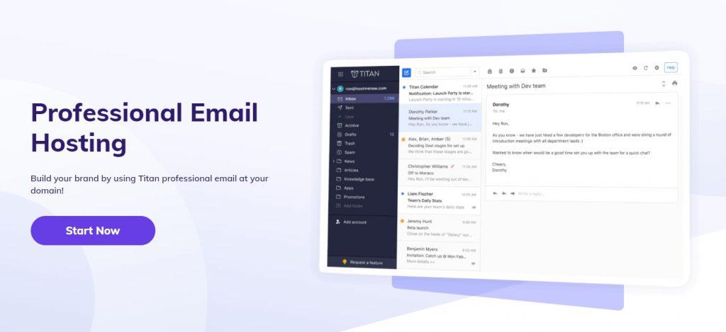 Hostinger professional email hosting homepage.