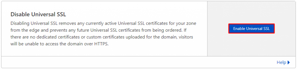 Screenshot from the Edge Certificates tab showing where to find the Enable Universal SSL button,