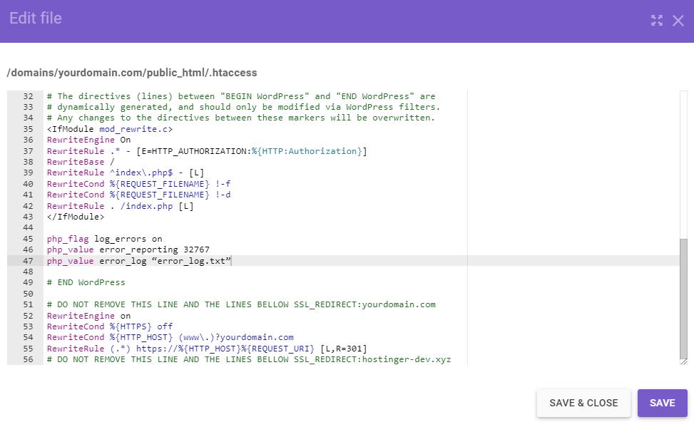 Error log code in the .htaccess file