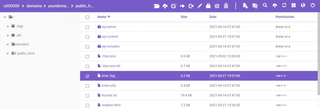 error_log file located in the public_html folder