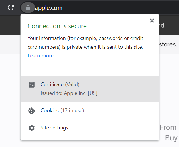 Example of an extended validation SSL certificate on Apple's website.