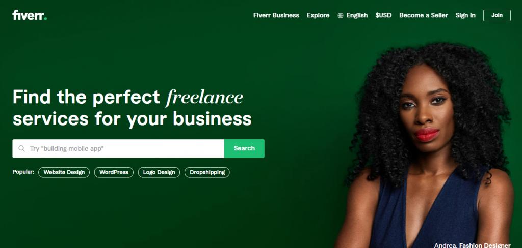 Fiverr's homepage.