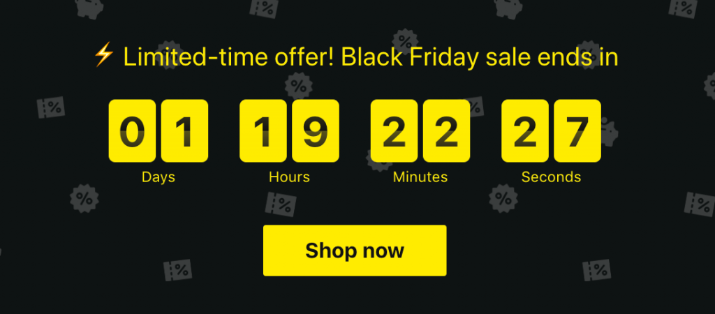 A countdown showing the duration of a flash sale.