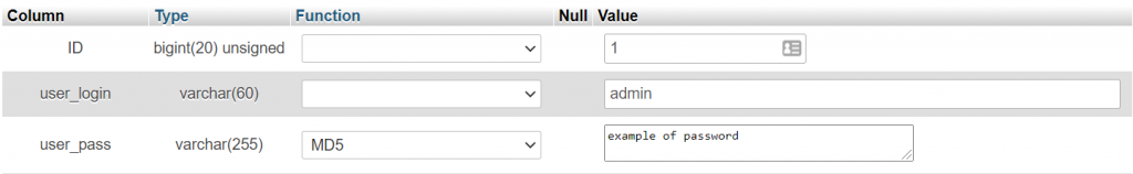 Changing the function value of your password to MD5.