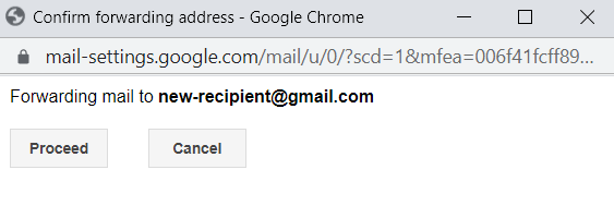 Confirming a new forwarding address on Gmail.