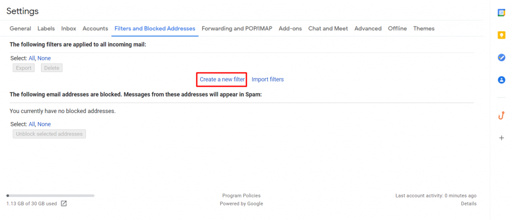 Creating a new filter on Gmail.