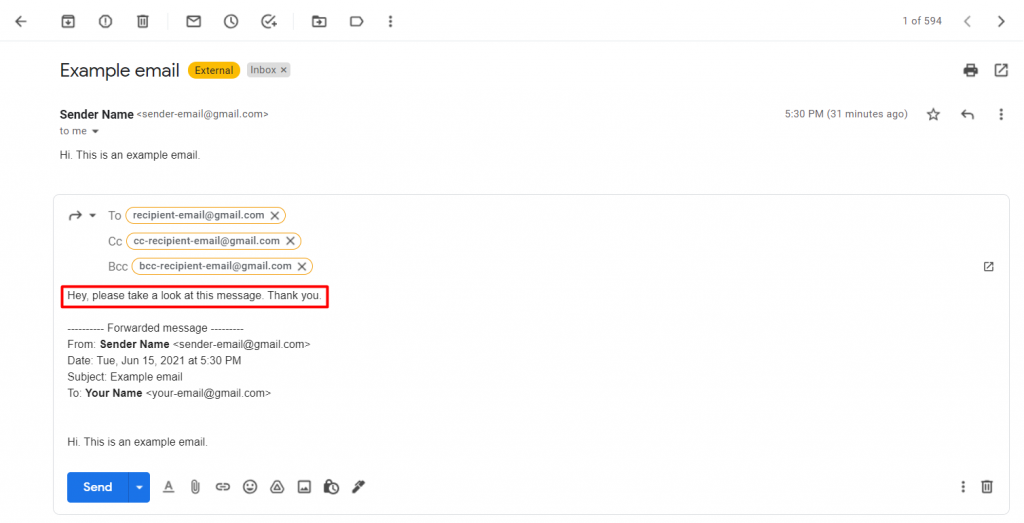 Writing a message above a forwarded email on Gmail.