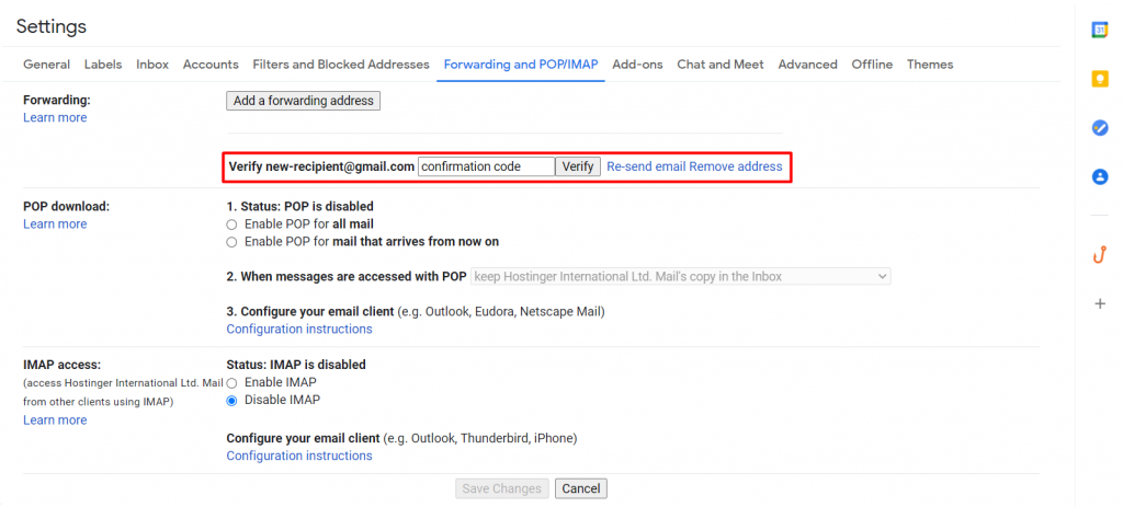 Verifying a new forwarding address on Gmail.
