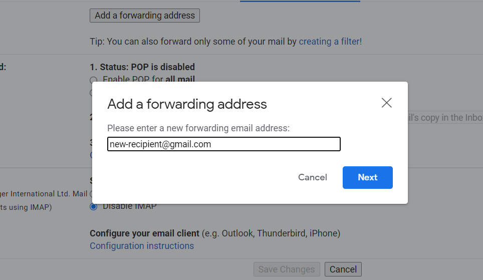 Inputting a new forwarding address on Gmail.