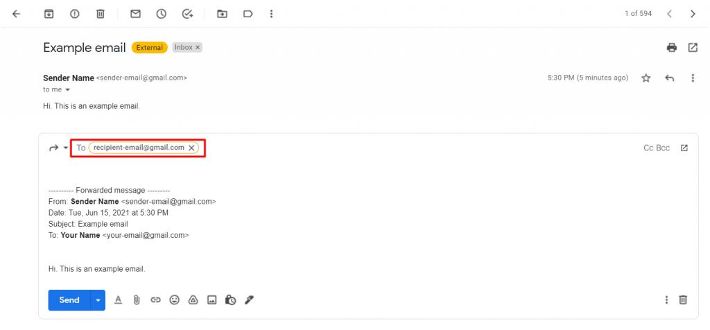 Entering the forwarding address on Gmail.