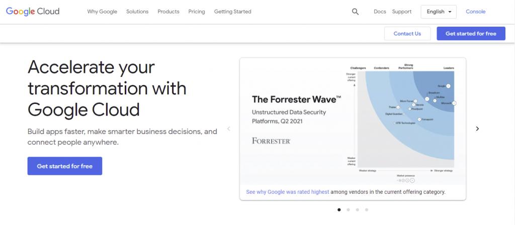 Google Cloud's main webpage.